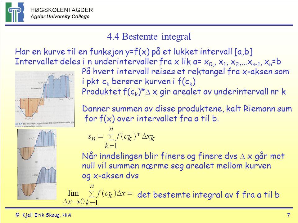 4.4 Bestemte integral Har en kurve til en funksjon y=f(x) på et lukket intervall [a,b]